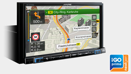 Built-in iGo Primo NextGen Navigation - INE-W720D